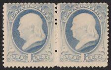 US Sc# 206 *MINT OG H* { 1c FRANKLIN PAIR } SOFT POROUS PAPER OF 1881 CV$ 150.00