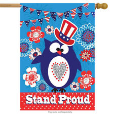 "Stand Proud Patriotic House Flag Primitive Owl 4th of July Holiday 28""x 40"
