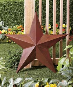 3 Foot Rustic Dimensional Red Good Luck Metal Barn Star Garden Sculpture