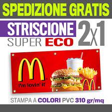 2x1 STRISCIONE PUBBLICITARIO ECO striscioni pvc teloni banner  telone logo  8031