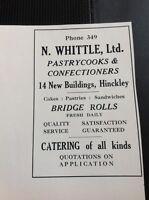 N1-1 Ephemera 1935 Hinckley Advert N Whittle Ltd Confectioners