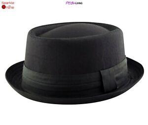 Mens Black Pork Pie HEISENBERG Breaking Bad Cotton Hat Cap Trilby