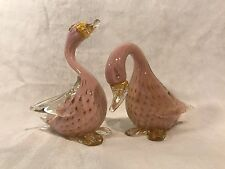 Vintage Murano Glass-Alfredo Barbini-Bullicante Style, Pair Of Pink/Gold Birds