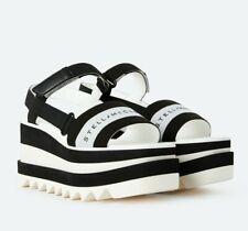 Stella McCartney Sneak - Eylse 37.5 Stripe Logo Platform Sandals Black White