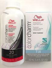 Wella Color Charm T18 Lightest Ash Blonde with 20 vol Cream Developer UK SELLER