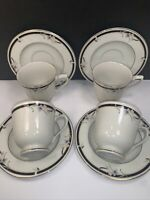 4 SANGO REGENCY CUP AND SAUCER SETS ''MANSFIELD'' #1200 JAPAN PORCELAIN