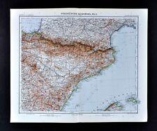 1911 Stieler Map Spain Pyrenees France Barcelona Pamplona Zaragoz Castellon SP