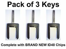 Vauxhall Compatible PACK of 3 Keys with brand new ID40 Transponder Chips