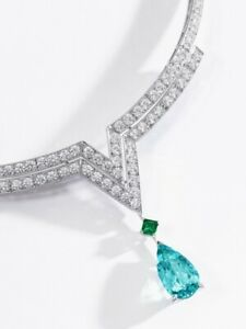 V Shape Necklace 925 Sterling Silver Aqua Pear drop Classic Jewelry Collection