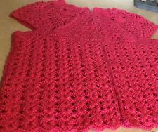 Lady's Hand Crocheted Sweater Vest, Bright Pink, Bust 40""