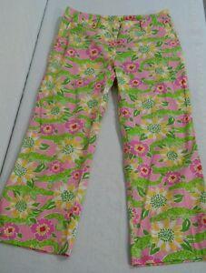 Lilly Pulitzer wild pink green alligator pants sz 4