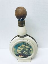 Vintage Italian Decanter Tool Wrap Decanter Nautical Teak Wood Stopper