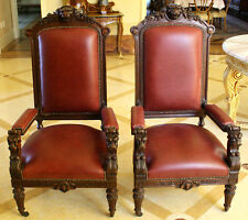 MAGNIFICENT 19C ENGLISH PAIR  OF OAK LEATHER TOP ARM CHAIRS