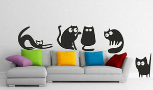 5 Funny Cats - Lovely Wall Stickers Decals Kids Room Nursery Bedroom FREE P&P