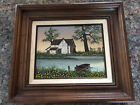 Framed H Hargrove Signed Oil Painting Farm Lake House Boat Water CERTIFIED