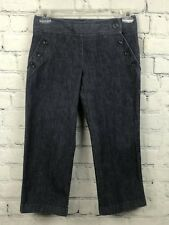 Ann Taylor Womens Denim Pants Cropped Capri Sailor Nautical Jeans Size 2