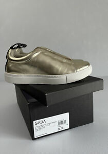 SABA Gold Kelsey Leather Metallic Sneaker Style Code WAW17129 Size 8 With Box