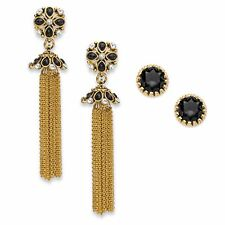PalmBeach Jewelry Black Crystal Gold Tone 2-Pair Stud and Tassel Earrings Set 3""
