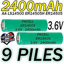 9 PILES ACCUS LITHIUM 3.6V AA ER14505 LS14500 ER14505H Li-socl2 2400Mah BATTERY