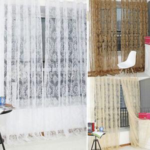 Retro Flocked Floral Voile Door Window Curtain Panel Sheer Tulle Drape Hot SalZY