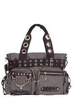 Black White Stripes Eyelets Studs Handcuffs Skull Chain Shoulder Hand Bag Goth