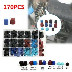 170pcs Car SUV Repair A/C R134a R12 High Low Side Valve Core Port Dust Cap KIt