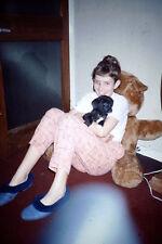 Vintage Kodak Kodachrome Slide Negative Smiling Young Girl With Her Dog & Teddy