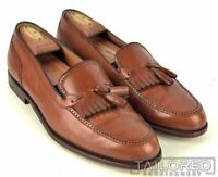 A. TESTONI Solid Brown Leather Mens Kilted Tassel Loafer Dress Shoes - 10 M