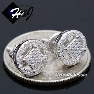 MEN WOMEN 925 STERLING SILVER 9MM ICY DIAMOND SCREW BACK ROUND STUD EARRING*E183