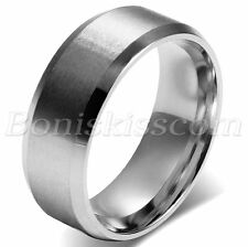 8mm Wide Simple Classic Mens Polish Stainless Steel Wedding  Ring Band Size 5-14
