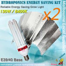 2 Sets Hydroponic Energy Saving 130W 6400K CFL Grow Light Kit Aluminum Reflector