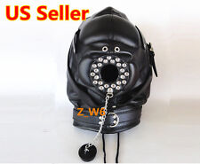LEATHER Padded Locking Full Hood Mask O Ring Mouth Costume Play Mask MUZZEL BLK1