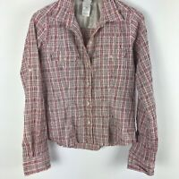 The North Face Womens Button Down Shirt Long Sleeve Collared Plaid Pink M