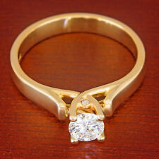 1/2 carat Colorless VS Round Diamond Solitaire Cathedral Ring 14k Yellow Gold ct