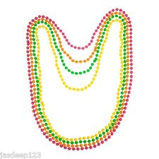80s Neon Beaded Necklace UV Fluorescent Disco 4 Colour Pack Fancy Dress Fun