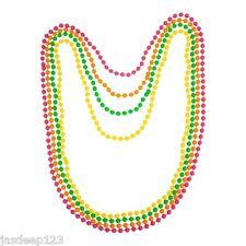 80s collar con cuentas de Neón UV Fluorescente Disco 4 Color Paquete Elaborado Vestido divertido