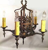 Antique bronze chandelier. Spanish Revival. Art Deco. 5 socket arms. Pendents.