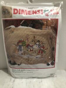 Vintage Dimensions Snow Folk Quilt Stamped Cross Stitch Christmas NEW in PKG