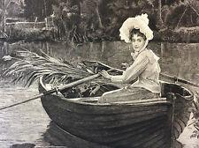 Souvenir d'été A-H. Bramtot gravure A. Mignon Sté Amis des Arts fin XIX ème 1894