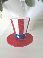 """Pier 1 Usa """"Uncle Sam'S Top Hat"""" Ornament New with Tag Patriotic Americana Decor"""