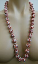 Vtg Hand Painted Knotted Chinese Red Porcelain Bead Necklace Silver Clasp 30""