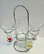 New listing Fun Bar Set 4 Shot Glasses 4 Colored Bubbles In Bottom With Beaker & Caddy