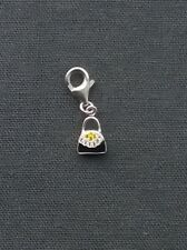 SOLID 925 STERLING SILVER BLACK CRYSTAL HANDBAG CHARM WITH CUBIC STONES