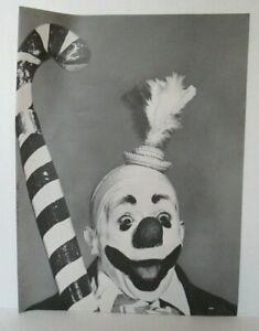"""CLOWN HOLDING CANDY CANE 10.25"""" X 14"""" Magazine Photo Clipping Page LM7"""