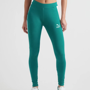 PUMA Womens Teal Green White T7 Archive Logo Compression Leggings Size S $40