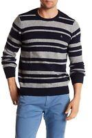 Original Penguin Men's Striped Wool Blend Crew Sweater Navy Gray Size XL 2XL New