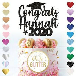 Customised Graduation Cake Topper Glitter Personalised congratulations graduate