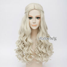 Anime for White Queen Light Blonde Long Curly Hair Women Cosplay Wig + Wig Cap