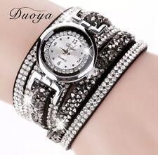 Armbanduhr Uhr Damenuhr silber schwarz Glitzer Strass Wickelarmband Armband