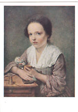 1961 VERY RARE Girl with doll by Jean-Batiste Greuze old Russian Soviet postcard